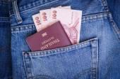 Thailand pass och pengar i denim jeans ficka — Stockfoto
