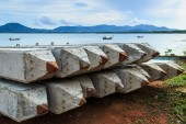 Pile of Stake at the sea — Stock Photo