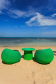 Modern seats stand on the beack, tropical sea and blue sky in Ko — Stock Photo