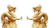 Giant golden Chinese dragon on isolate background — Foto Stock