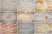 Set of Natural stone wall texture for background — Stock Photo