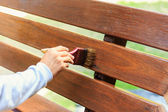 Hand holding brush and paint timber — ストック写真