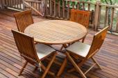 Teak wood furniture stand on the terrace — Stock Photo