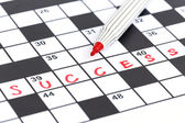 Close up red marker on Crossword - Success — Stock Photo