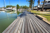 Wooden decking at harbor — Stock Photo