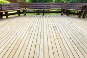Wooden decking in terrace — Photo