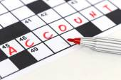 Close up red marker on Crossword - Account — Stock Photo