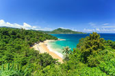 Tropical beach from top view in Phuket, Thailand — Stock Photo
