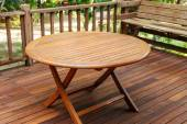 Teak wood table stand on the terrace — Stock Photo