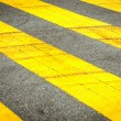 Tire mark on yellow traffic line on the road — Stock Photo #60061835