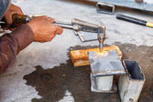 Metal cutting with acetylene torch — Stock Photo