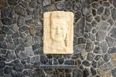 Face of sandstone carving hang — Stock Photo
