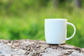 Coffee cup in the garden the morning time — Stock Photo