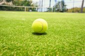 Tennis court with tennis ball — Stock Photo