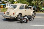 Car accident with motorcycle — Stock Photo