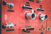 Fire truck hose connectors — 图库照片
