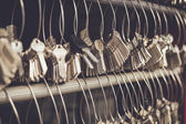 Bunch of keys on wire — Stock Photo