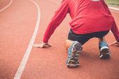 Runner feet on stadium — Foto de Stock