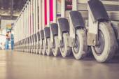 Trolleys luggage in airport — Stock Photo