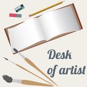 Desk of artist, drawing accessories — Stock Vector