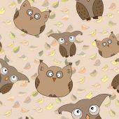 矢量无缝模式与可爱的猫头鹰,叶子 — 图库矢量图片