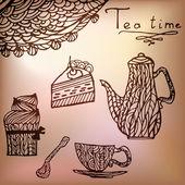 Tea time set card — Stock Vector
