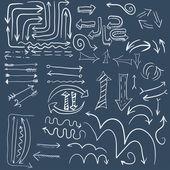 Wight doodle arrow in dark blue background — Stock Vector