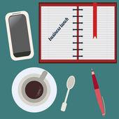 área de trabalho, almoço de negócios. conjunto liso. — Vetor de Stock