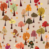 Autumn forest, leaf fall, seamless pattern, flat style — Stock Vector