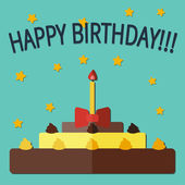 Birthday cake flat card — Stockvektor