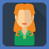 Flat avatar. Red-haired woman in green blouse — Vettoriale Stock