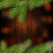 Christmas tree borders, isolated on a wooden background — Stock Vector
