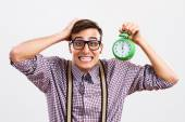 Nerdy man is in panic because he doesn't have too much time — Stock Photo