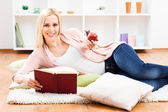 Woman enjoy in her free time reading book — Stock Photo