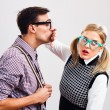 Nerdy man is trying to kiss his nerdy lady — Stock Photo #60616417