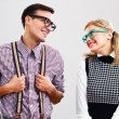 Shy nerdy woman and man are flirting — Stock Photo #60616421