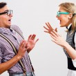 Nerdy woman is shouting at her boyfriend — Stock Photo #60616669