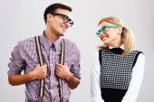 Shy nerdy woman and man are flirting — Stok fotoğraf