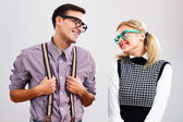 Shy nerdy woman and man are flirting — Stock fotografie
