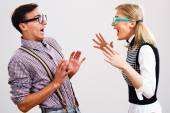 Nerdy woman is shouting at her boyfriend — Stockfoto