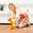 Cheerful housewife enjoys in cleaning — Stock Photo #60725747