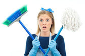 Housewife is sad because she has to clean — Stockfoto