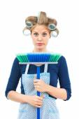 Housewife is sad because she has to clean — Stock Photo