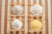 Whole wheat flour,white corn flour,white flour and yellow corn flour — Stock Photo