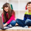 Cute little girl and little boy are using laptop — Stock Photo #65773709