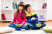 Little boy and little girl are eating healthy — Stock Photo
