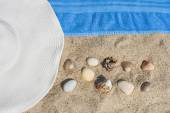 Straw hat, shells and rocks in the sand — Stock Photo