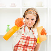 Housewife is ready for cleaning — Stock Photo