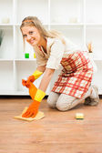 Housewife enjoys for cleaning — Stock Photo
