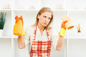 Housewife is tired of cleaning — Stock Photo